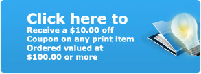 JRS Handling, receive a $10.00 off coupon on any print item ordered valued at $100.00